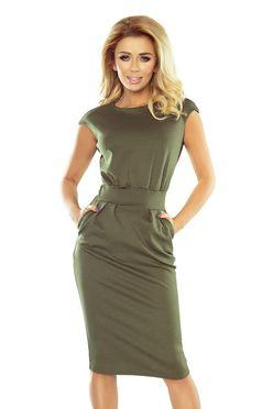 Midi šaty SARA s vreckami v khaki farbe 144-5