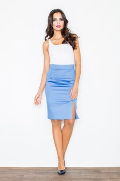 Modrá sukňa s rázporkom M207