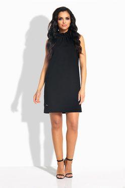 Oversize rovné čierne šaty s volánom okolo krku L192