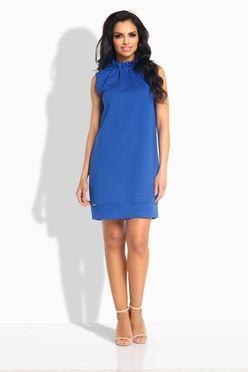 Oversize rovné modré šaty s volánom okolo krku L192