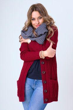 Pletený bordový sveter s gombíkmi SELMA