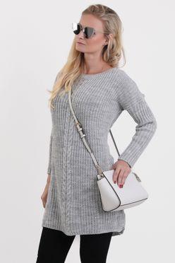 Predĺžený dámsky sveter ERYKA v sivej farbe