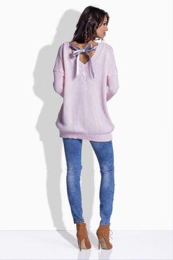 Ružový sveter so saténovou mašľou 176