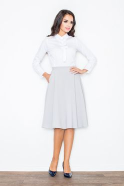 Sivá sukňa po kolená M317