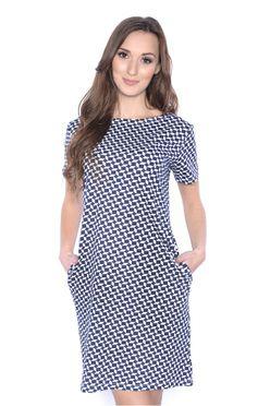 Tmavo modré vzorované šaty s vreckami OX3385