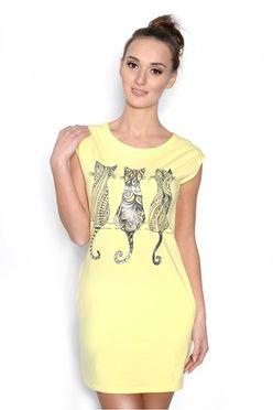Žlté minišaty s mačkami 5713