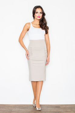Béžová elegantná puzdrová sukňa M044