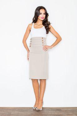 Béžová dámska sukňa s vysokým pásom M036