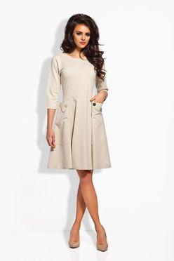 Béžové dámske šaty s dvomi gombíkmi