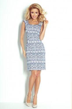 Béžové šaty s modrým vzorom