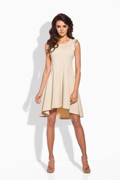 42df84f4cd93 Béžové dámske šaty s nariasenou sukňou
