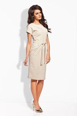 Béžové dámske šaty s opaskom L129