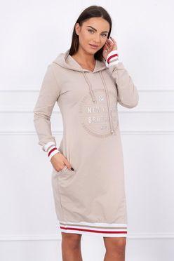 Béžové športové šaty s kapucňou a vreckami Broklyn K13388 12f0c6b2fc