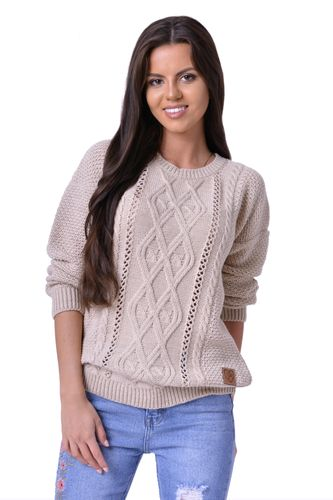 Béžový dámsky sveter so vzorom Keira
