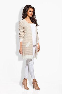 Béžový sveter s imitáciou vreciek