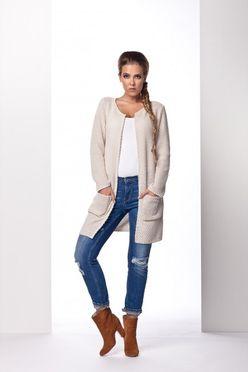 Béžový dámsky sveter s vreckami