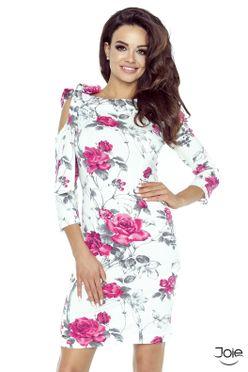 Biele krátke kvetované dámske šaty 69-07 4cdc295546
