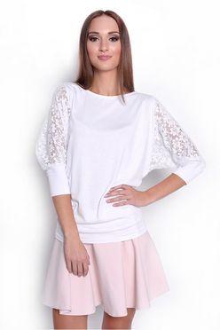 Biele dámske tričko so vzorovanými tylovými rukávmi OX6047
