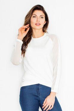 Biele dámske tričko s tylovými rukávmi FG M467