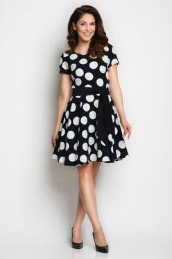 bd5eaed2cb23 Bodkované bielo čierne dámske šaty A103