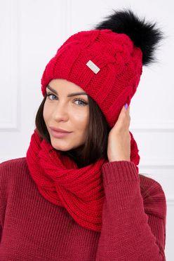 Červená dámska čiapka s brnbolcom a nakrčnikom K116