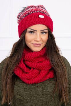 Červená vzorovaná dámska čiapka s nakrčnikom K123