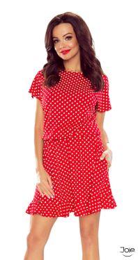 Červené dámske šaty s bodkami áčkového strihu 63-10