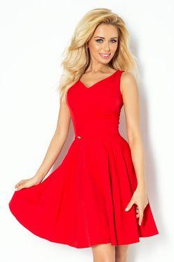 Červené dámske šaty so srdcovým výstrihom 114-3