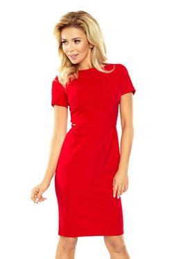 Červené puzdrové šaty s krátkym rukávom 150-2