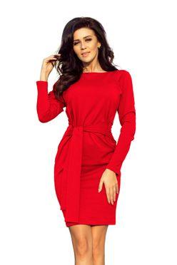 Červené puzdrové šaty s opaskom 209-6