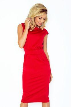 Červené dámske šaty rovného strihu 144-2