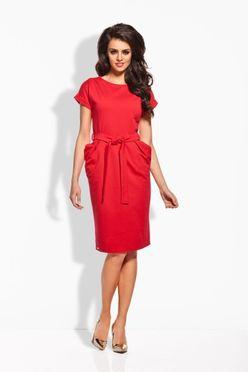 Červené dámske šaty s opaskom L129