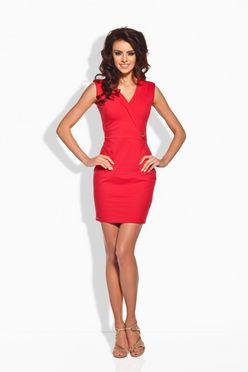Červené krátke šaty so zlatým gombíkom