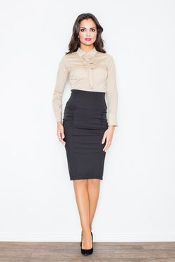 Čierna elegantná puzdrová sukňa M044
