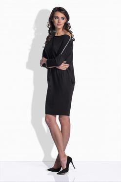 Čierne bavlnené šaty s detailom na ramene 158