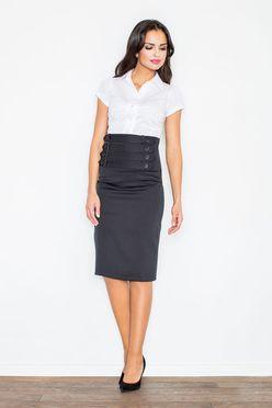 Čierna dámska sukňa s vysokým pásom M036