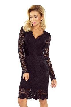 Čierne dámske šaty s čipkovanými rukávmi a dekoltom 170-1