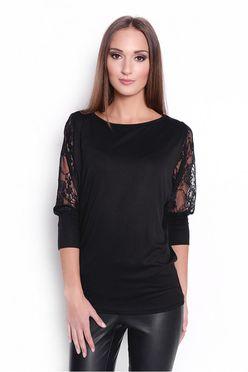 Čierne dámske tričko s tylovými rukávmi OX6047