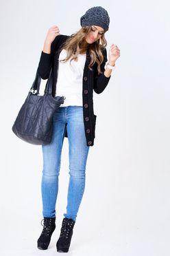 Čierny pletený sveter na gombíky SELMA