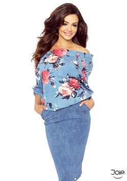 Dámska blúzka bez ramienok s kvetmi vzor jeans 19-06