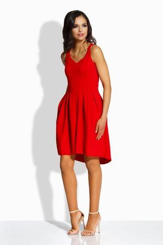 Dámske áčkové šaty s vreckami v červenej farbe L210