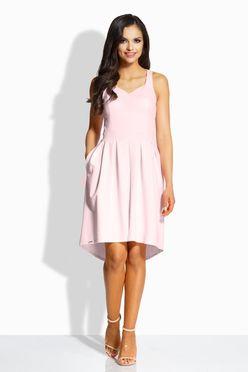 Dámske áčkové šaty s vreckami v jemne ružovej farbe L210