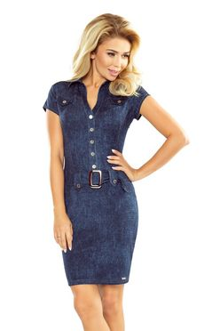 Dámske šaty s gombíkmi a opaskom vzor jeans 142/5