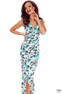dfa765581342 Dlhé letné puzdrové šaty s kvetmi 108-03
