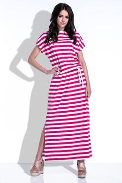 Dlhé maxi letné dámske šaty s ružovými pruhmi F310