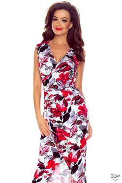 Dlhé puzdrové letné šaty s červenými kvetmi 108-01