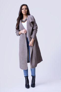 Dlhý dámsky sveter HAZEL vo farbe mocca f5609aa61b7
