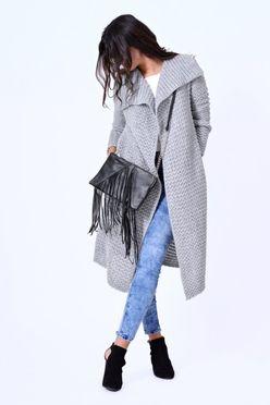 Dlhý dámsky sveter HAZEL v šedej farbe