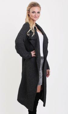 Dlhý dámsky sveter HAZEL v tmavo-šedej farbe