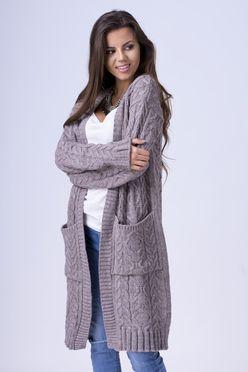 Dlhý dámsky sveter s vreckami ALBA mocca